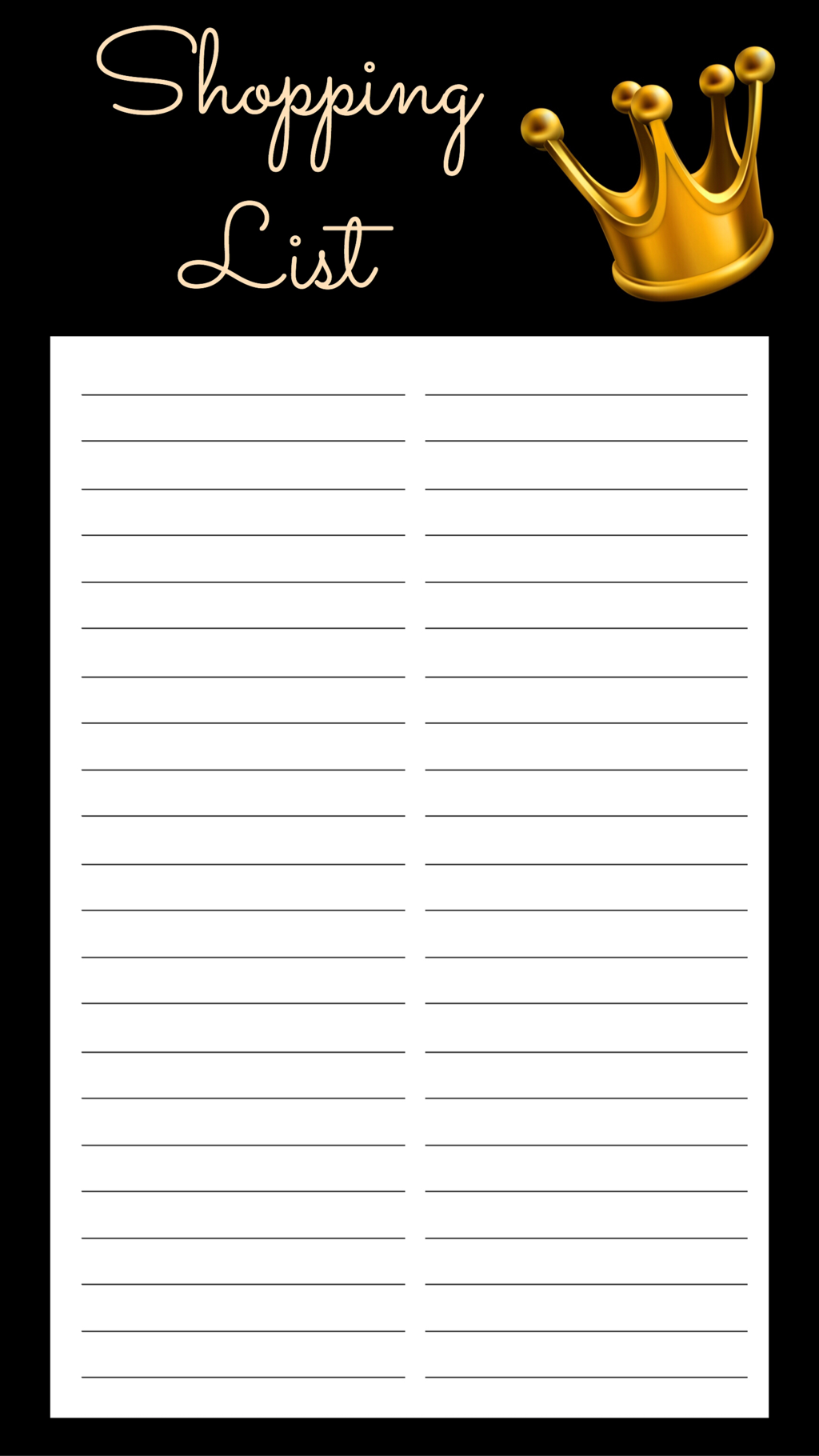 SHOPPING LIST FREE PRINTABLE