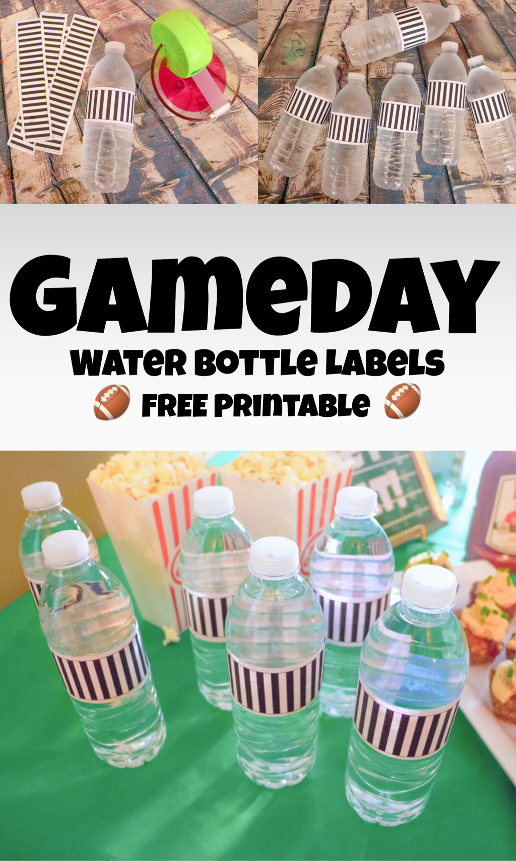image relating to Printable Water Bottle Labels Free known as GAMEDAY H2o BOTTLE LABELS ~ Totally free PRINTABLE - The Trophy