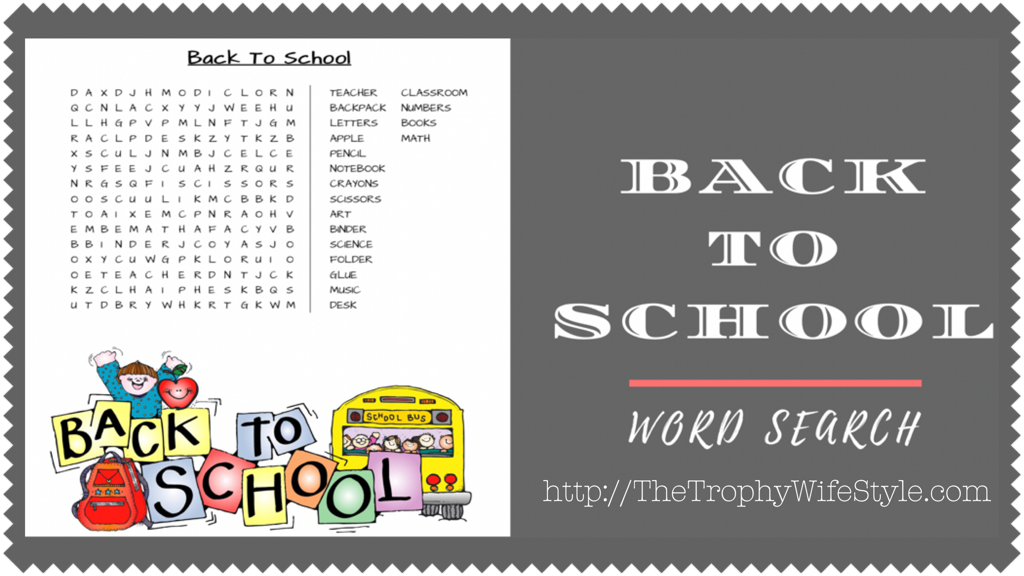 Back To School Word Search