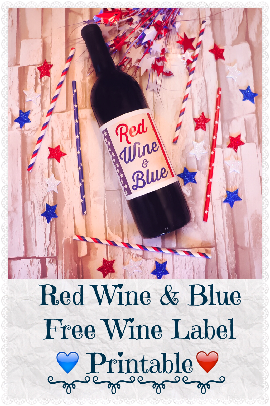 RED WINE & BLUE FREE WINE LABEL PRINTABLE