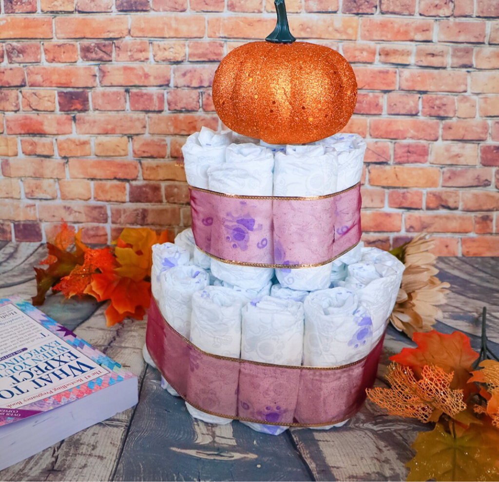 FALL DIAPER CAKE ~ WHAT TO EXPECT WHEN YOU'RE EXPECTING