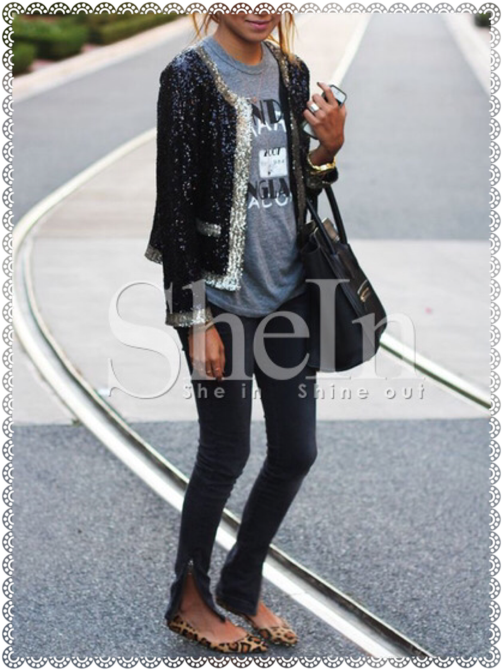 Black Long Sleeve Sequined Coat