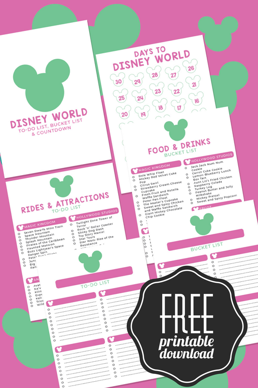 Disney World To-Do List, Bucket List & Countdown PRINTABLES