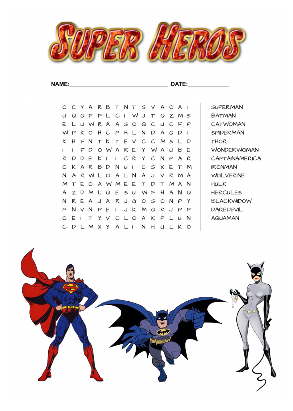 Super Heros Word Search