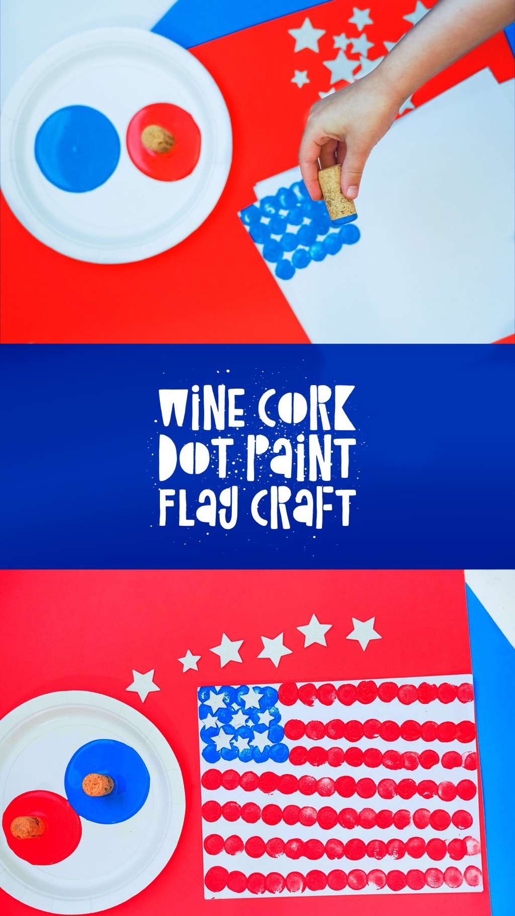 Wine Cork Dot Paint Flag Craft