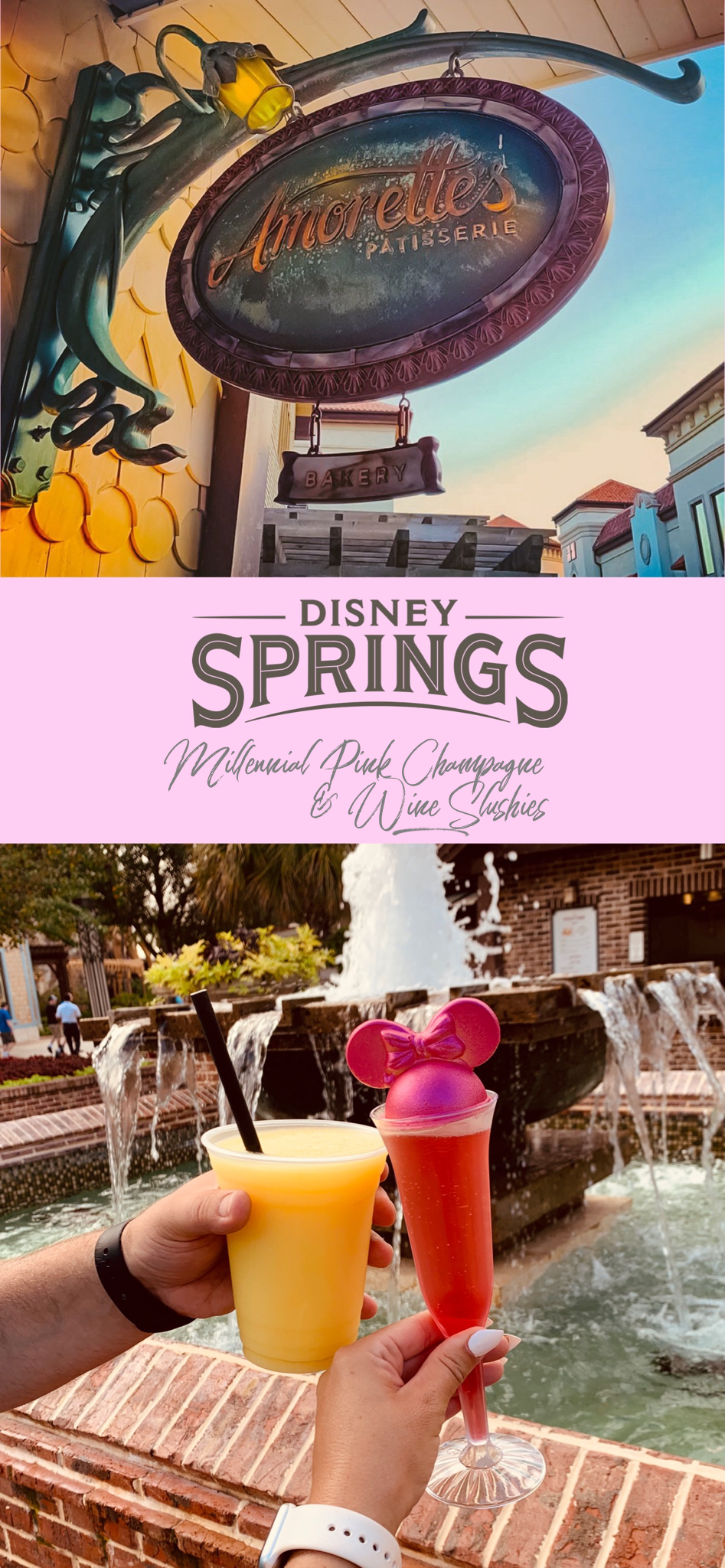 Disney Springs Millennial Pink Champagne & Wine Slushies