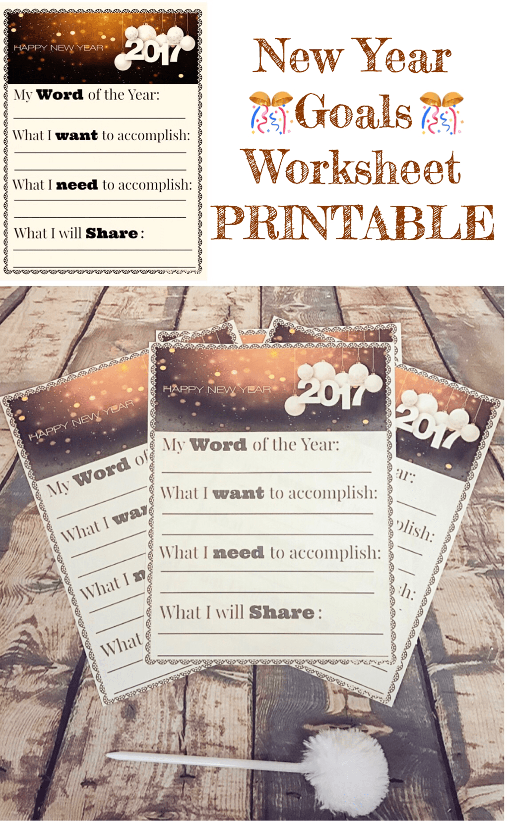 NEW YEAR GOALS WORKSHEET FREE PRINTABLE