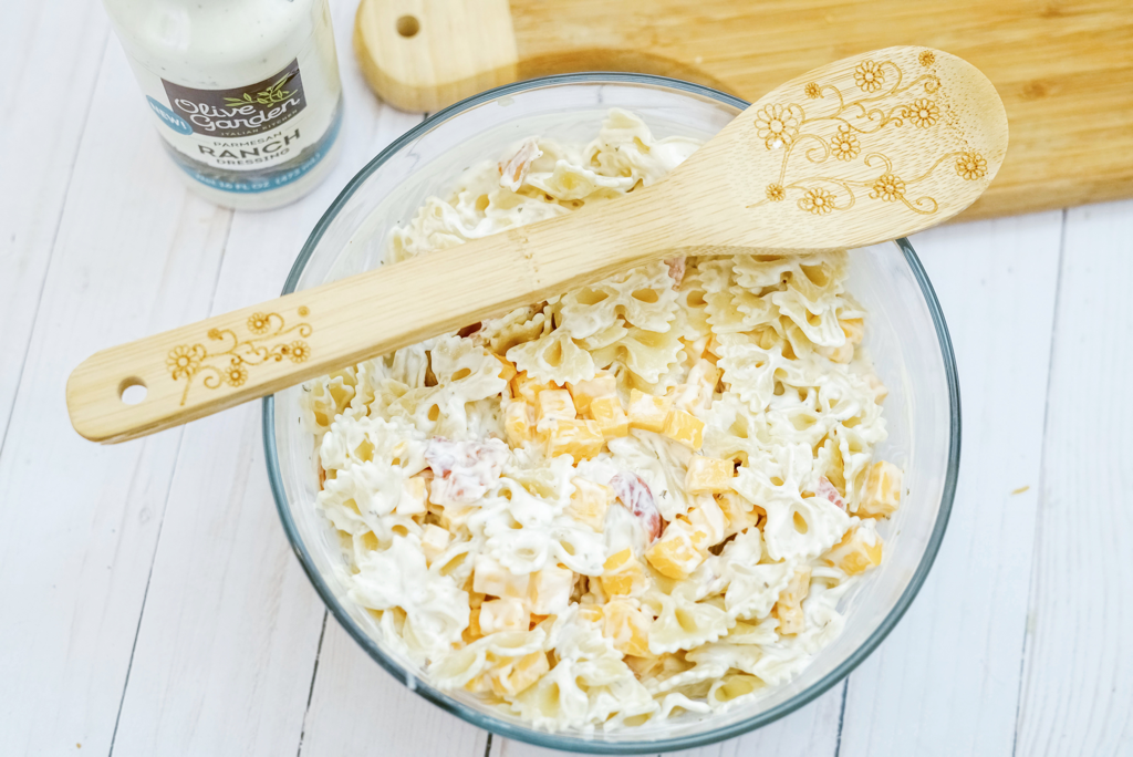 Bacon Ranch Pasta Salad Using Olive Garden Dressing