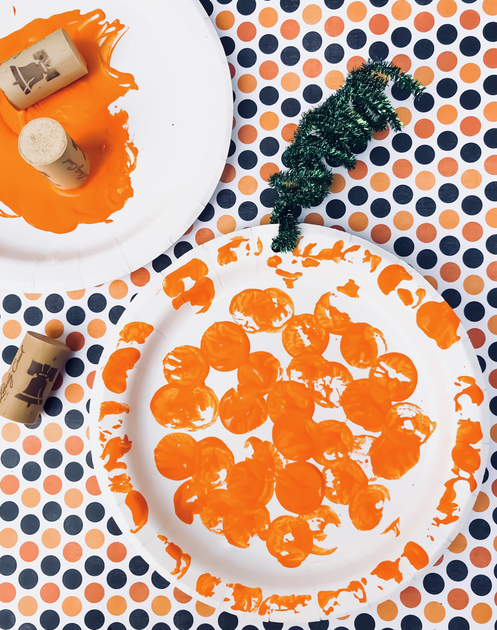 Wine Cork Dot Paint Pumpkins